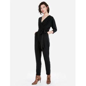 express surplice black tie waist jumpsuit